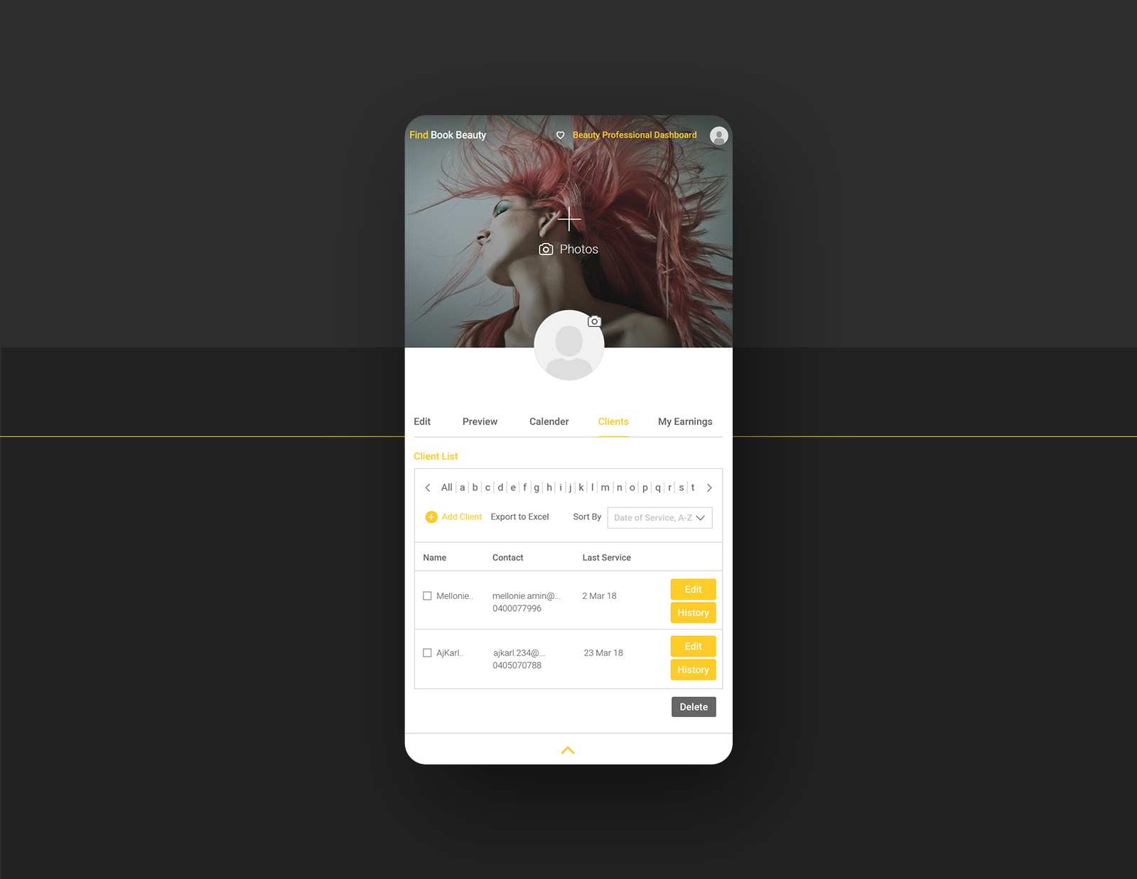My Clients Listing Mobile Design