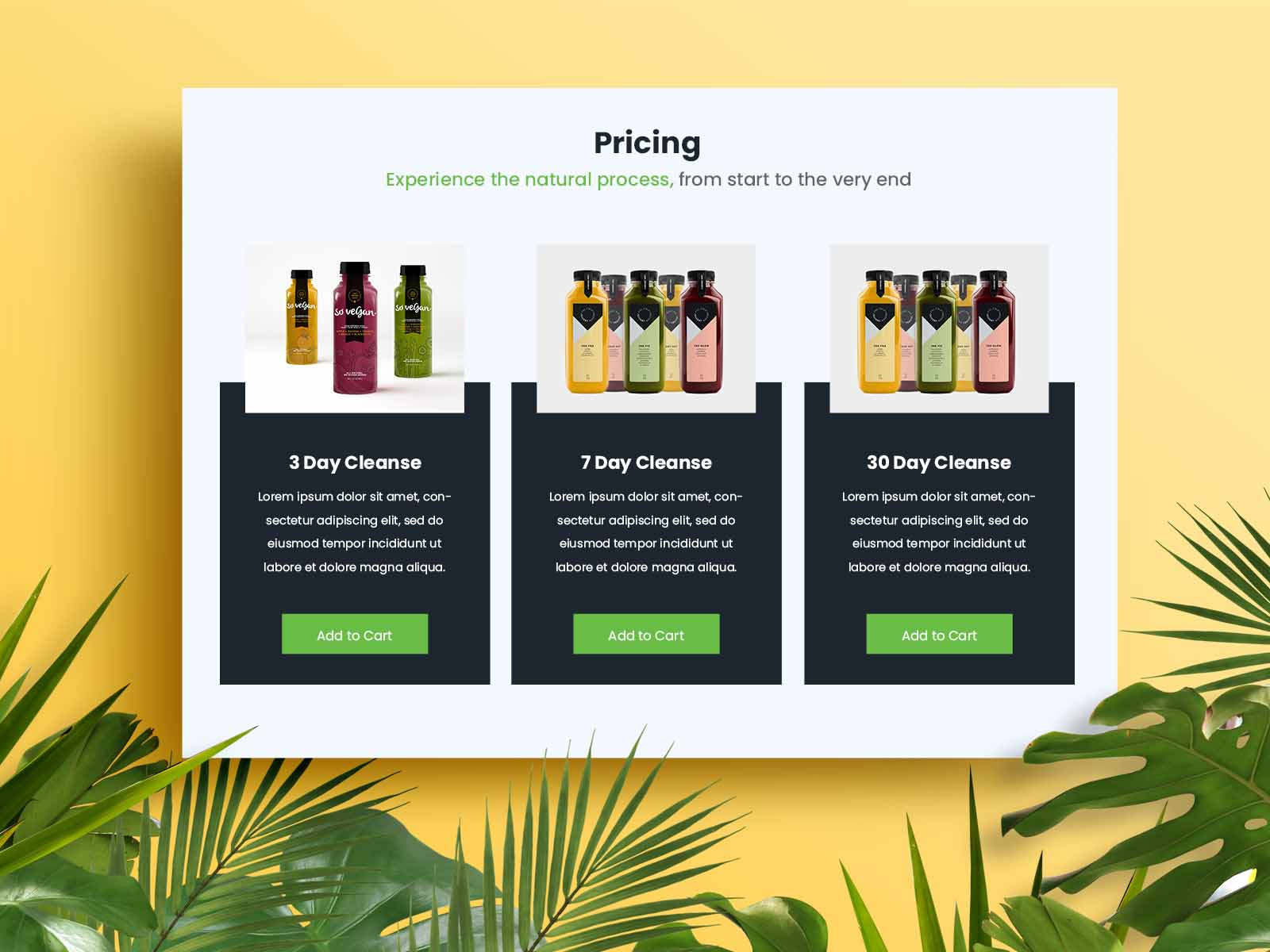 Green Juice Pricing Page