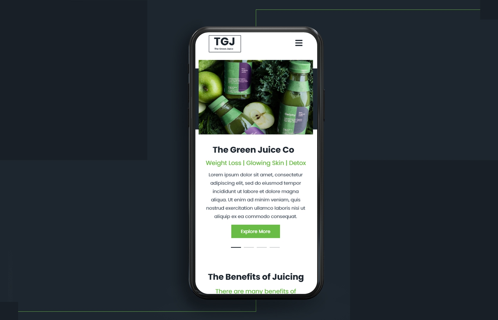 Green Juice App Design
